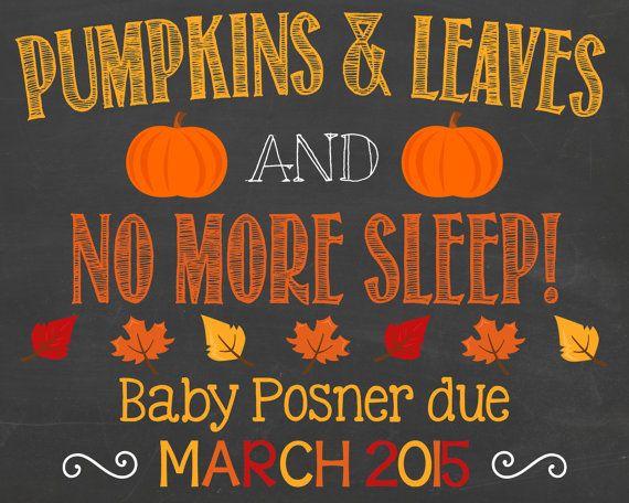 Fall Pregnancy Announcement Chalkboard Poster by PersonalizedChalk, $10.00