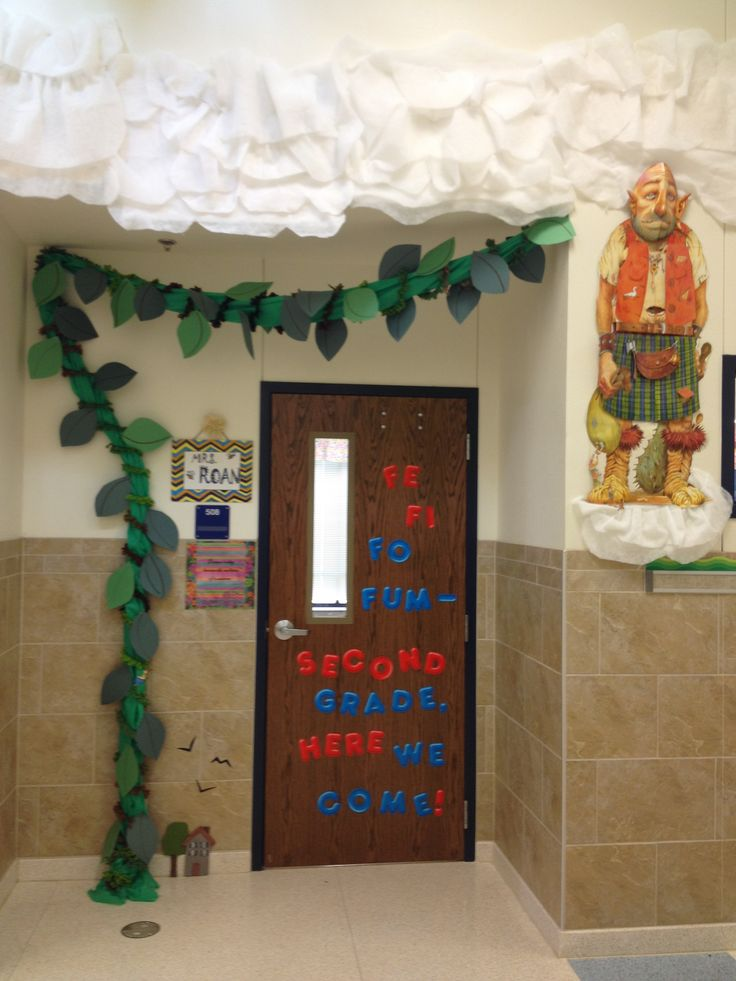 My school has a schoolwide fairy tale theme. I chose to decorate my door with Jack & the Beanstalk because I found a book at a thrift store with a 3D poster of a giant.  Thrifty Tip: Purchase items that have multiple uses. The giant book was $4.99 and was a good deal because I got a great poster and it also has fairy tales I can read to my students.