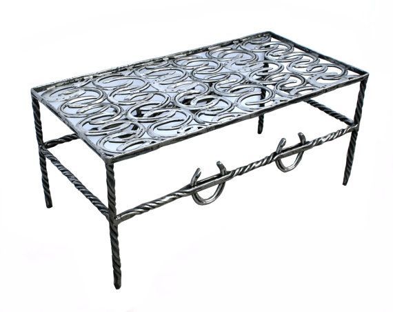 Horseshoe Coffee Table With Glass Top by SaltCreekCrafts on Etsy, $1600.00
