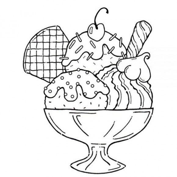 yummy ice cream sundae coloring pages for kids - Pages For Kids