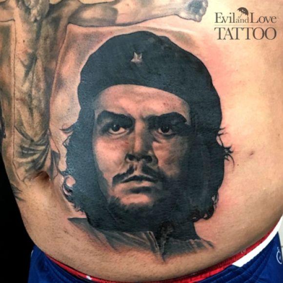 portrait tattoo, political tattoo, shading, realism tattoo
