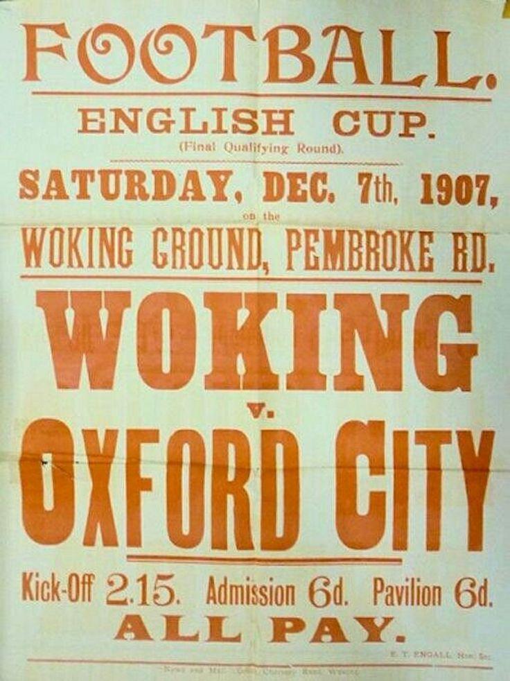Flyer del Sabado 7 de Diciembre de 1907 Woking F.C Vs Oxford City F.C.