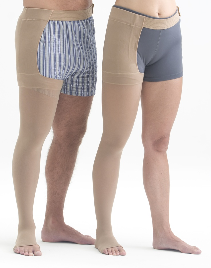 Single leg compression stockings are available for men as well.