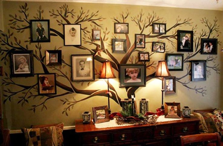35+ Creative DIY Ways to Display Your Family Photos --> Original Family Tree Wall Decal