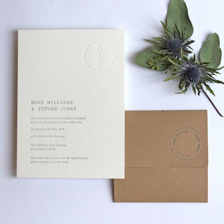 Retro Stamp Letterpress Wedding Invitation - Wolf & Ink 2015 Collection