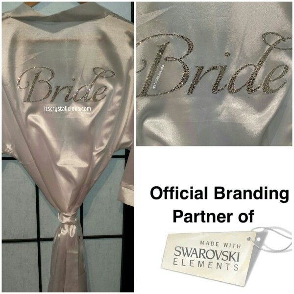 Satin Crystalicious® Bridal Robe, can be embellished with any wording in Genuine SWAROVSKI® ELEMENTS   The design is all custom done by hand, placing each individual crystal on one by one - This is NOT a Transfer.   www.itscrystalicious.com   #swarovskielements #swarovski #bridalinspiration #bridalparty #bridetobe #bridalshower #bling #bridal #bridesmaid #crystalicious #crystals #crystalkatana #custom #designer #diamonds #engagement #fashion #flowergirl #glam #handmade #instawedding…