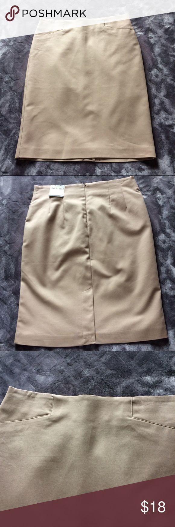 Women's khaki pencil skirt Classic khaki pencil skirt. NWT. VanHeusen Skirts Pencil