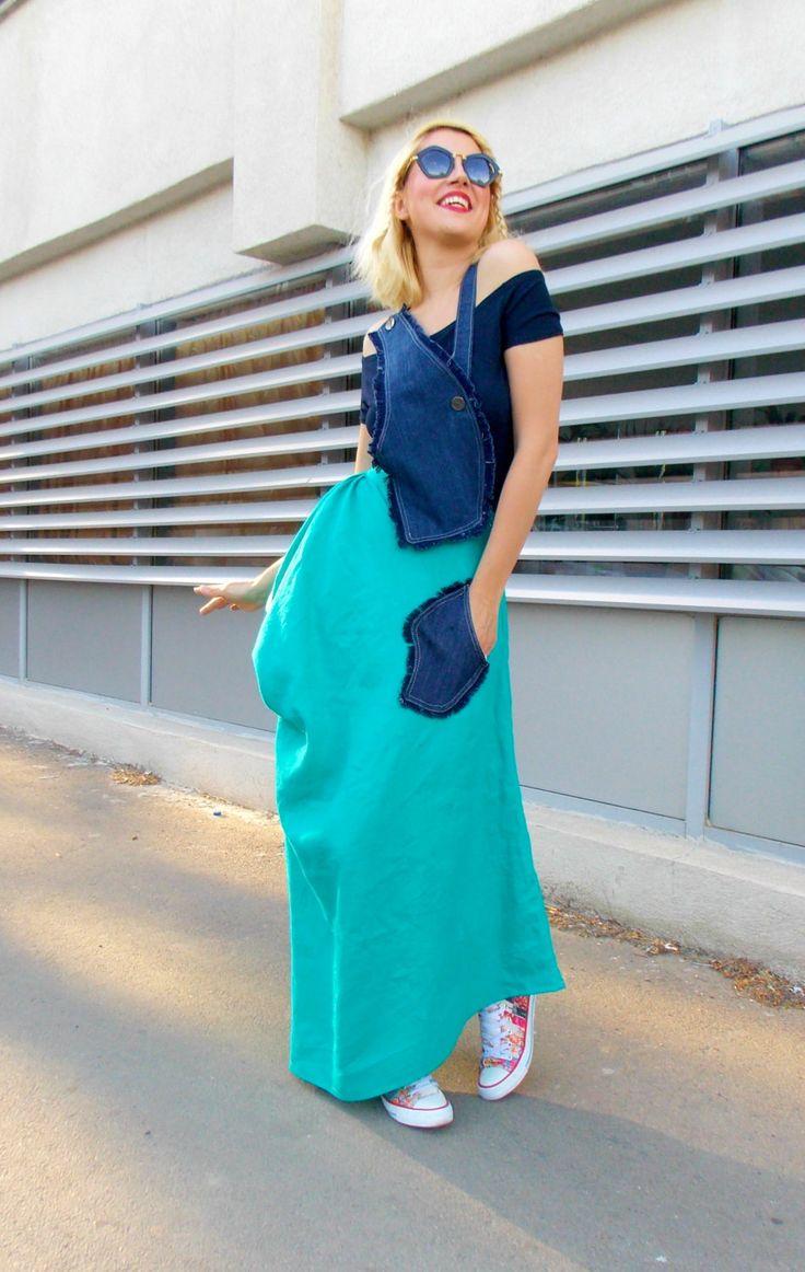 Just launched! Linen Maxi Dress / Linen Denim Summer Dress / Maxi Dress with Navy Top TDK126 https://www.etsy.com/listing/235305653/linen-maxi-dress-linen-denim-summer?utm_campaign=crowdfire&utm_content=crowdfire&utm_medium=social&utm_source=pinterest