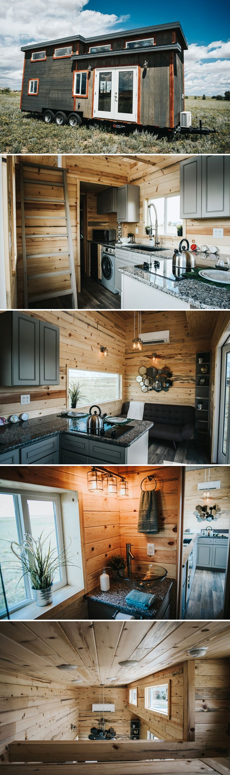 The 28' Four Eagle tiny house features weathered plank siding, natural wood interior, full light French doors, and a gourmet kitchen with upper cabinets.
