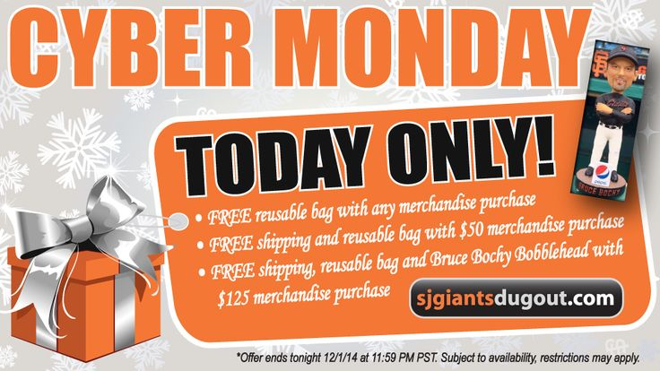 Checkout these great Cyber Monday deals in the San Jose Giants Dugout Store! Don't miss out on these ONE DAY ONLY offers...including the opportunity to get your hands on a bobblehead of San Francisco Giants Manager Bruce Bochy! Visit www.SJGiantsDugout.com now!