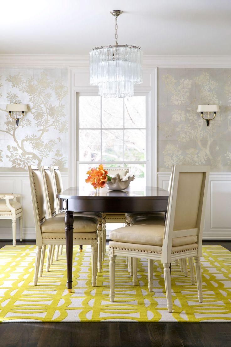 Dining Room Wallpaper And Yellow Rug
