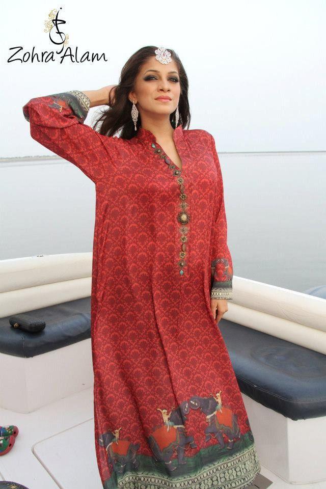 Red Printed Silk Tunic