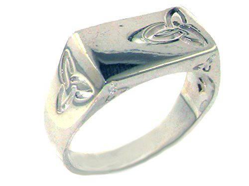 Solid 925 Sterling Silver Trinity Knot Signet Mens Ring - Size T - Sizes N to Z+3 Available