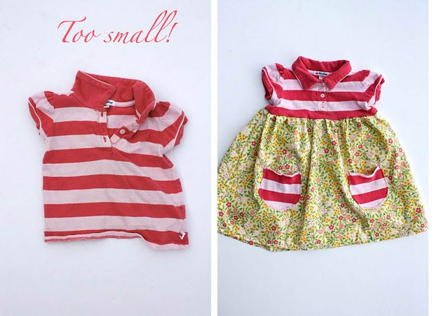 Several different ways to refashion old onsies, dresses, and shirts that don't fit or have stains! :)