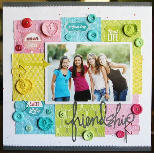 Friendship layout by Laura Vegas - great use of embossing folders to add texture in the background