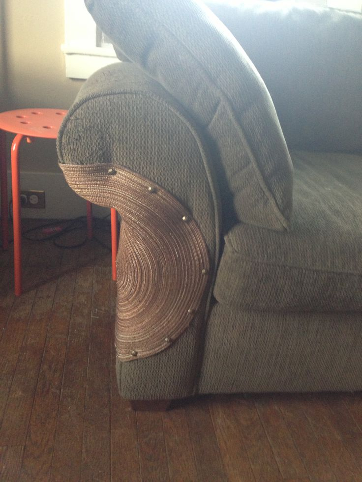 Solution To The Cat Scratch Holes In The Corners Of Couches. Placemat From  Bed Bath And Beyond And Upholstery Tacks. (FIRST Get The Cat Scratcher Next  To ...
