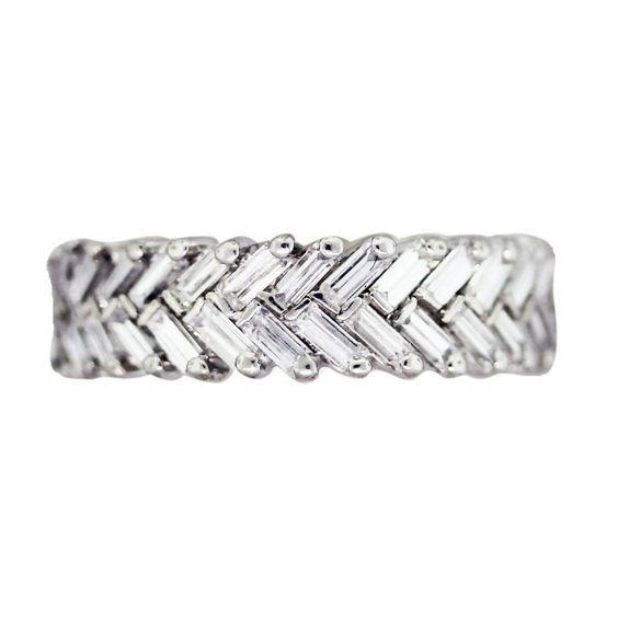 Platinum and Diamond Chevron Eternity Band | Raymond Lee Jewelers