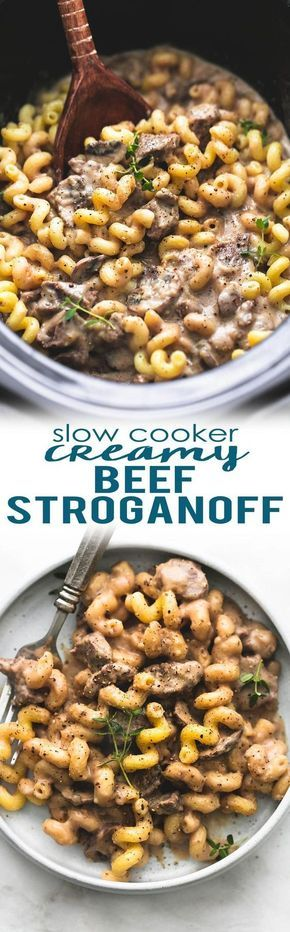 Slow cooker creamy beef stroganoff made with sour cream, steak or stew meat, and no cream of soup! A healthy (er), yet rich and savory, easy crockpot version of classic beef stroganoff.   lecremedelacrumb.com