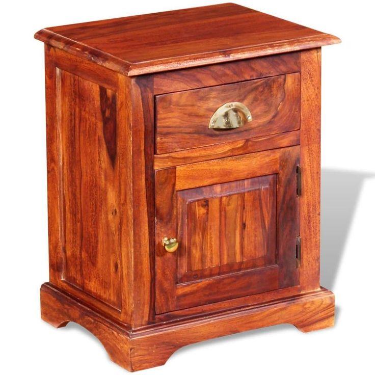 Home Bedside Cabinet Table Bedroom Nightstand Furniture Brown Wood Drawer Solid #HomeBedsideCabinet