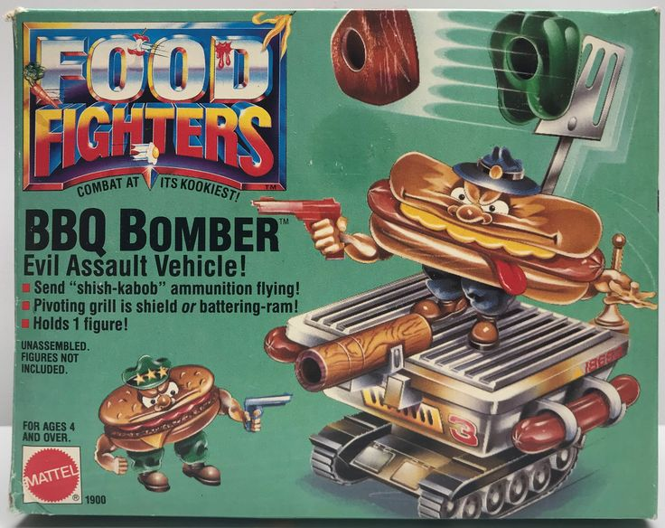 We always have the hottest Vintage Toys at The Angry Spider.  Now available: TAS038036 - 1988 ...  Check it out here: http://theangryspider.com/products/tas038036-1988-mattel-food-fighters-bbq-bomber-evil-assault-vehicle?utm_campaign=social_autopilot&utm_source=pin&utm_medium=pin