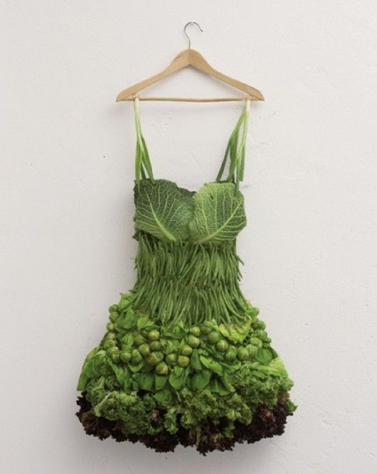 Veggie dress?  Yikes!  Oh, but maybe this goes with Lady Gaga's meat dress for a balanced meal.