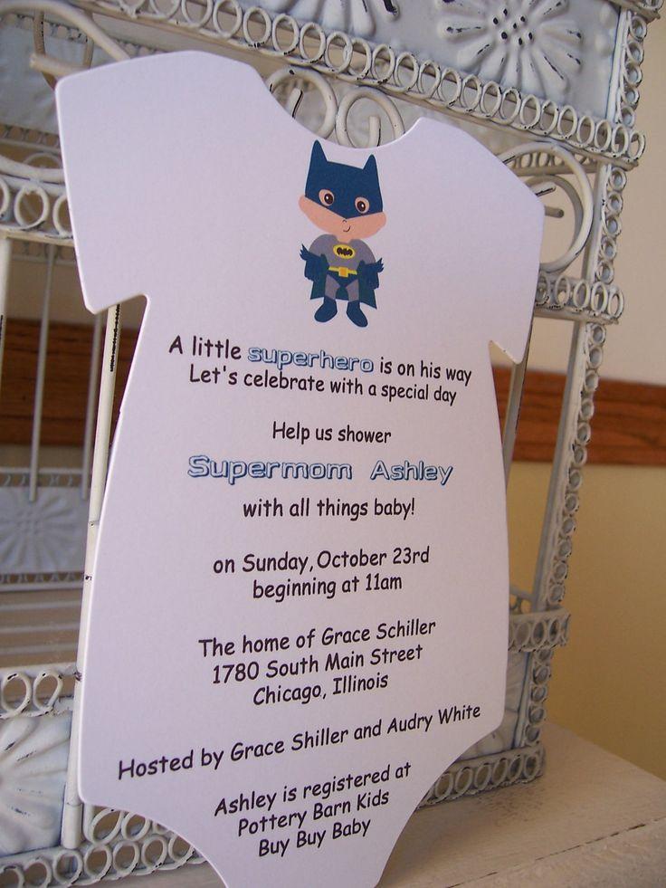 Batman Baby Shower Invitation --- Custom Die Cut Onesie Order for Kristin