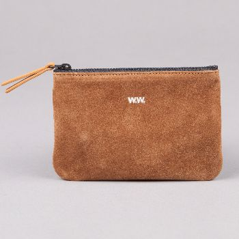 Wood Wood Zip Wallet In Tan Suede: The Suede Zip Wallet from Wood Wood is a rectangular-cut accessory featuring leather tabbed zip closure, silver embossed W.W. branding with an internal stitched ridge.