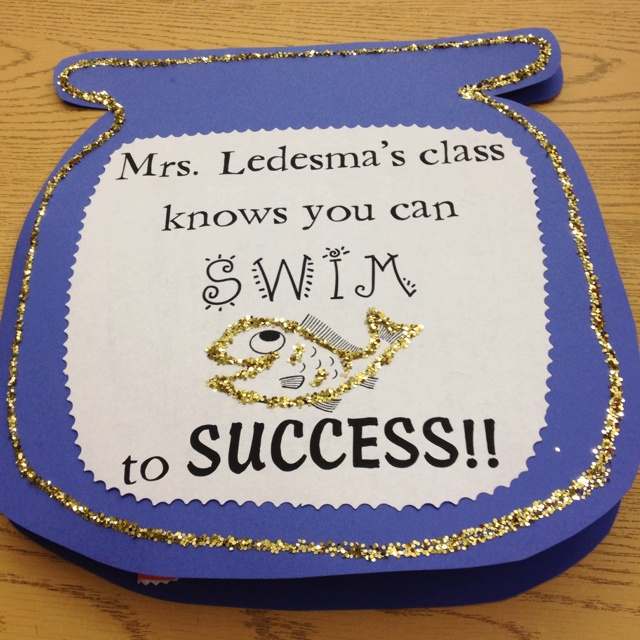 FCAT encouragement card or treat for testing buddies next year- snack bag of goldfish inside