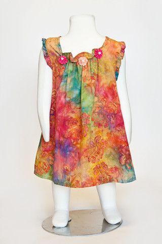 rainbow dress, batik dress, summer dress, girls dress