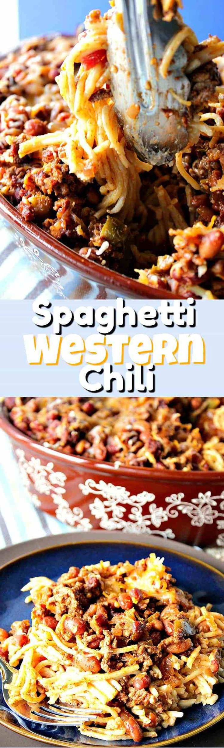 This Spaghetti Western Chili Casserole is quick to make (30 minutes or less) and can be made in advance, which is always a plus during the busy holiday season. - Kudos Kitchen by Renee  #SundaySupper