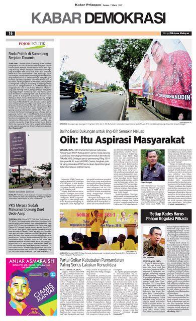 Layout Kabar Priangan Halaman Kabar Demokrasi, Selasa 7 Maret 2017 | LAYOUT KABAR PRIANGAN