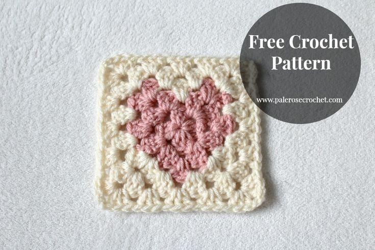 Pale Rose Crochet: Love Heart Granny Square