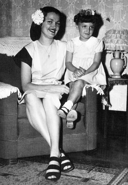 Sharon Tate and her mother, Doris Tate, pose for a photo, C.1940's