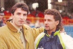 Daniele Pasa con Roberto Baggio prima di Italia-Ungheria del 1991