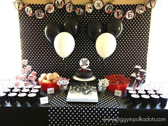 wwe birthday ideas | Black, White and Red WWE Birthday Party Theme