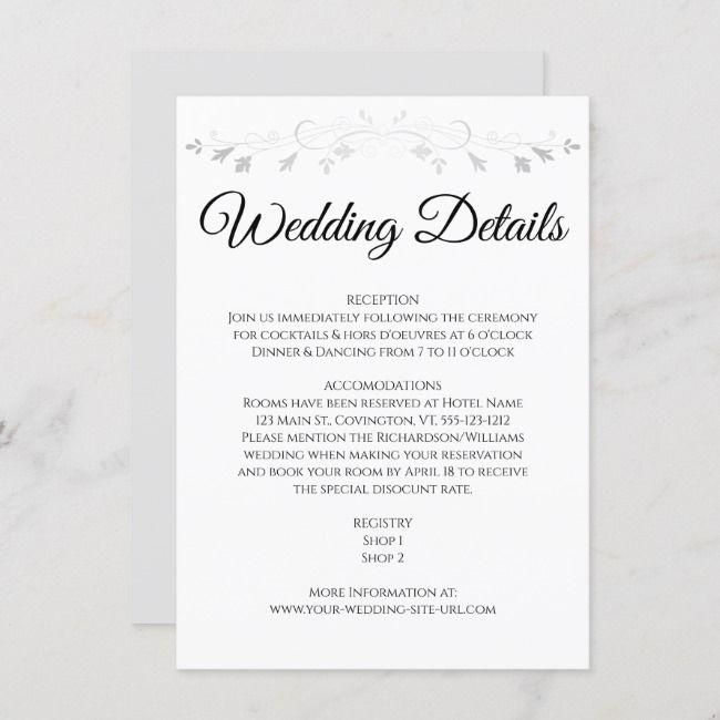 Silver Gray Flourish Elegant Wedding Details Enclosure Card Zazzle Com In 2020 Wedding Invitation Details Card Wording Wedding Invitation Details Card Wedding Card Wordings
