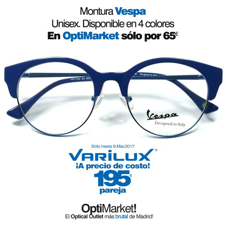 ¿Eres de los que creen que las gafas progresivas son horrorosas? Eso es porque no has dado con el lugar correcto. Si vienes a Optimarket podrás elegir entre más de 5000 modelos de gafas para tus lentes, como estas Vespa. ¿Todavía tienes alguna excusa para no ver bien?
