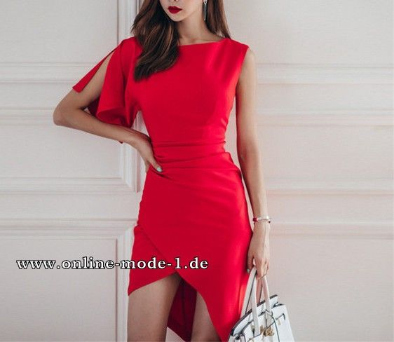 Asymmetrisches Damen Kleid in Rot
