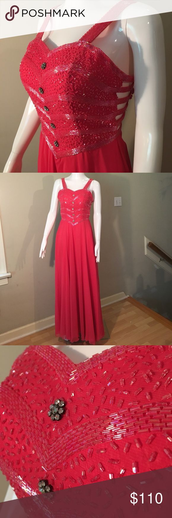 "Gorgeous beaded floral formal dress Gorgeous beaded floral formal dress in a vibrant coral. Size 4. Mannequin isn't quite small or squishy enough to do up the back but it is stunning. Armpit to armpit is 15.5"", waist at smallest is 12.5"", length from center of sweetheart neckline is 50"". Dresses"