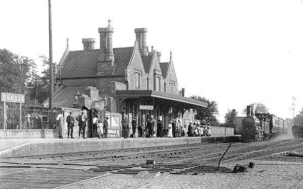 Oundle Railway Station in the early 1900s. The railway line is now closed and the old station building is a private house.
