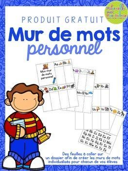 FREE Mur de mots personnel - FRENCH personal word walls