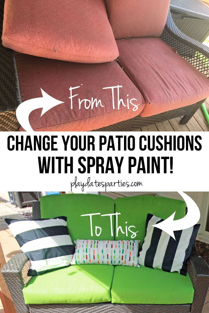 Yes, I Actually Spray Painted My Patio Cushions (ORC Week 5): Get the best tips for spray painting patio cushions, and find out if it was worth the effort. http://playdatesparties.com/2016/05/spray-painted-patio-cushions.html