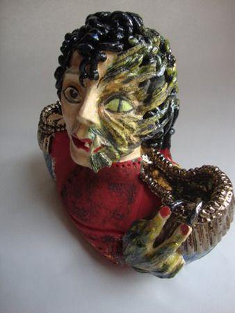 Michaela Kloeckner   Thriller - 2014   Hand built and wheel thrown components, white Raku clay, ceramic colours, 24ct gold lustre, multiple firings to 1080 degrees Celcius   46cm (high) x 33cm (wide)