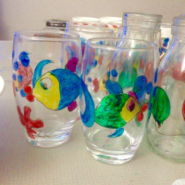 My hand painted gorgeous Great Barrier Reef glasses ready for my pop up shop this Saturday 7 May for details see Igram LOUISEMKENTDESIGN