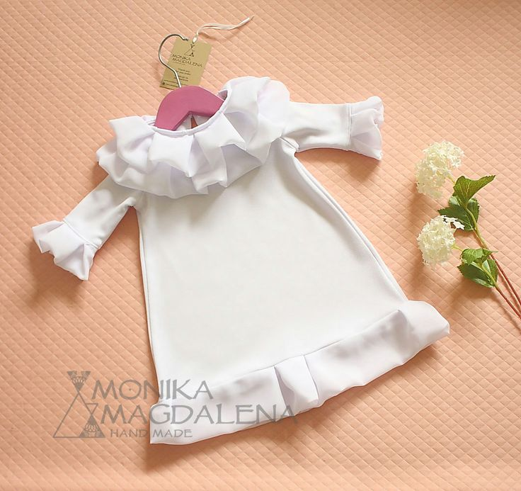 "Baptism, blessing, christening baby girl dress  ""Frills Elise"" with beautiful knitwear white and white chiffon fabric. by MonikaMagdalenaHM on Etsy"