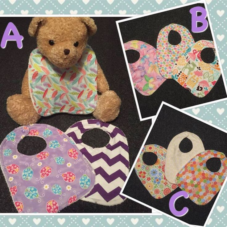 Handmade by Sew What Bib sets perfect to brighten any babies look! For more information, please visit https://www.facebook.com/HandmadeMarkets