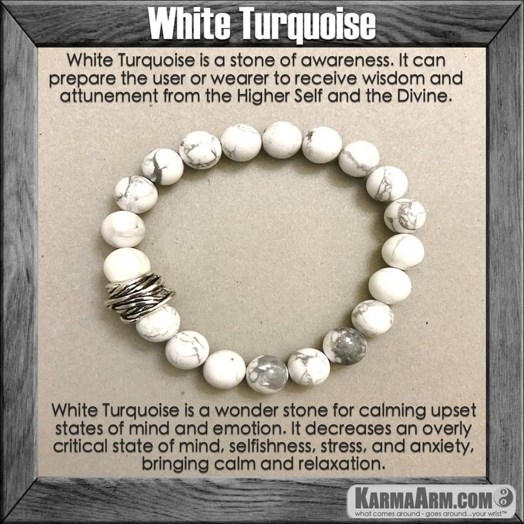 White Turquoise is a wonder stone for calming upset states of mind and emotion. White Turquoise decreases an overly critical state of mind, selfishness, stress, and anxiety, bringing calm and relaxation.  … Yoga Chakra Bracelet. Mens Energy Healing Karma Mala Stacks. Organic Reiki Jewelry.  . Mens Meditation Mala……  ….