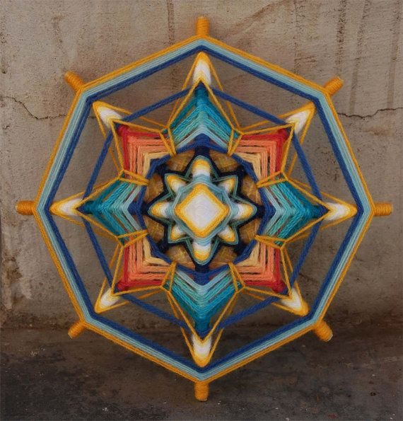 Golden Seed yarn mandala  Ojo de Dios 9 inches 23 by JivaMandalas