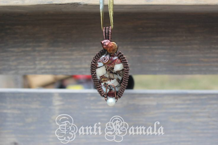 Spiny oyster, pearl and mother of pearl copper pendant/pearl necklace/pearl jewelry/fresh water pearl/oxidized copper/genuine pearls by ZantiKamala on Etsy