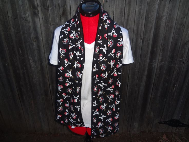 Skull and Crossbones with Red Doo Rags Flat Scarf with FLEECE backing, ON SALE, Gift for any time of year and for any occation by ScarftasticCreations on Etsy